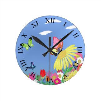 蝶ローマ数字 ラウンド壁時計