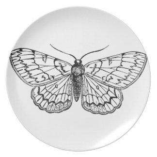 蝶ヴィンテージのイラストレーション プレート