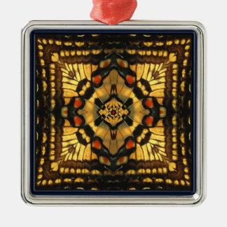 蝶万華鏡のように千変万化するパターンの正方形のオーナメント メタルオーナメント