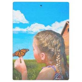 蝶元の絵画のクリップボードを持つ女の子 クリップボード