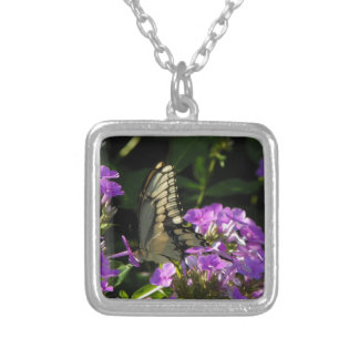 蝶写真のギフト シルバープレートネックレス