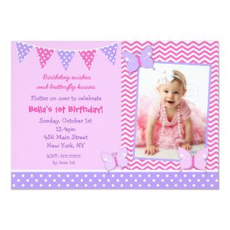蝶写真の誕生日の招待状 カード