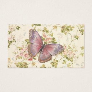 蝶及びつる植物のぼろぼろのシックなテレホンカード 名刺