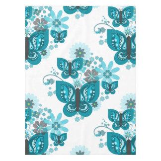 蝶及び花の(青い)テーブルクロス テーブルクロス