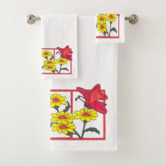 蝶及び花IIの浴室タオルセット バスタオルセット