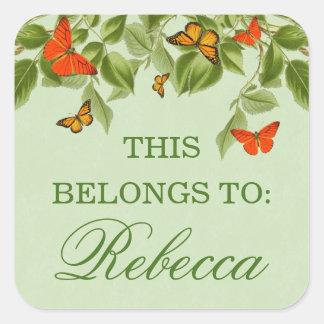 蝶及び葉の緑の自然の名前のステッカー スクエアシール