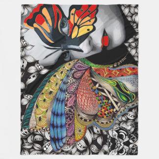 蝶女性のフリースブランケット フリースブランケット