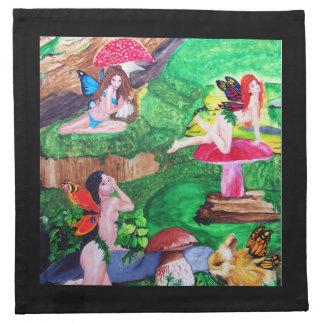 蝶妖精の水彩画の絵画のナプキン ナプキンクロス