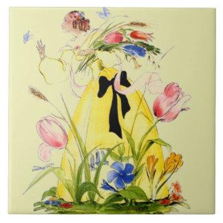 蝶庭の女性の花柄を追跡するタイルのヴィンテージ タイル