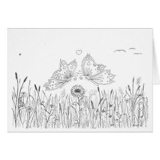 蝶愛挨拶状(黒い引くことまたは白) カード