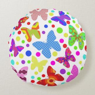 蝶水玉模様の多彩でかわいい動物の子供部屋 ラウンドクッション