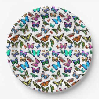 蝶沢山に紙皿 ペーパープレート
