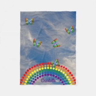 蝶空の虹|の名前入りな名前 フリースブランケット