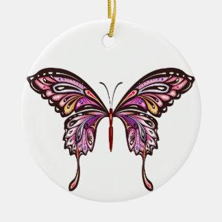 蝶紫色およびピンク愛 セラミックオーナメント