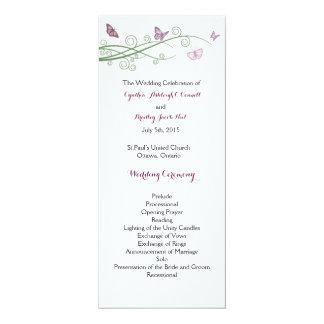 蝶結婚式プログラム 10.2 X 23.5 インビテーションカード