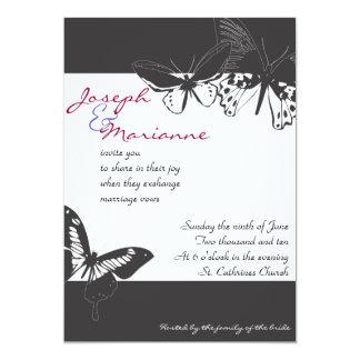 蝶結婚式招待状の招待の婚約 12.7 X 17.8 インビテーションカード