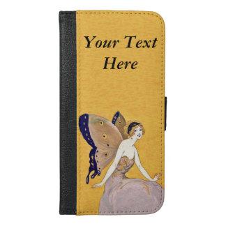 蝶翼が付いているかわいらしいブロンドの妖精の長い服 iPhone 6/6S PLUS ウォレットケース