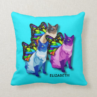 蝶翼のカッコいいの3匹のサイケデリックな猫 クッション