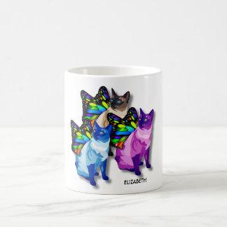 蝶翼のカッコいいの3匹のサイケデリックな猫 コーヒーマグカップ