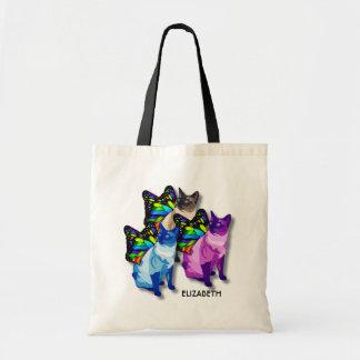 蝶翼のカッコいいの3匹のサイケデリックな猫 トートバッグ