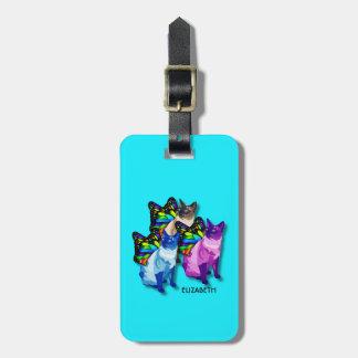 蝶翼のカッコいいの3匹のサイケデリックな猫 ラゲッジタグ