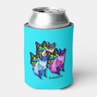 蝶翼のカッコいいの3匹のサイケデリックな猫 缶クーラー