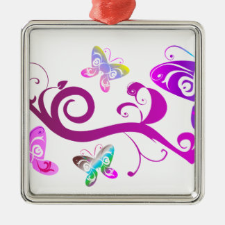 蝶翼の春のピンクの紫色の翼パターン メタルオーナメント