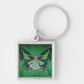蝶翼を持つアールヌーボーのヴィンテージのフラッパー キーホルダー