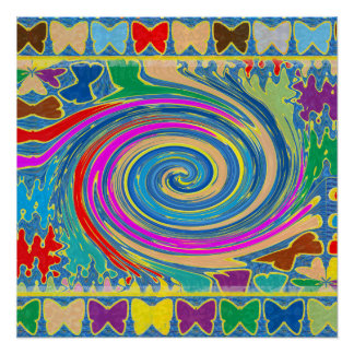 蝶色の回転のグラフィックは装飾を振ります ポスター