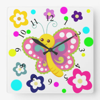 蝶花の水玉模様のかわいい動物の子供部屋 スクエア壁時計