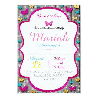 蝶誕生日の招待のかわいい木製の輝き 12.7 X 17.8 インビテーションカード