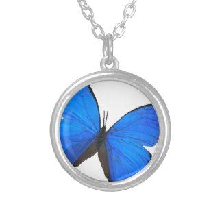 蝶青いmorphoの翼 シルバープレートネックレス