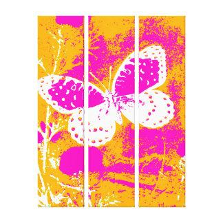 蝶-オレンジと白いピンク キャンバスプリント