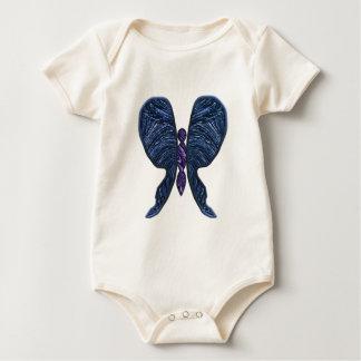 蝶、ステンドグラス、螺線形、紫色青 ベビーボディスーツ