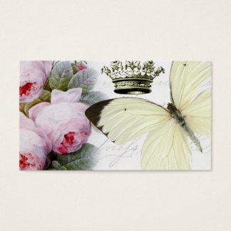 蝶、バラおよび王冠 名刺