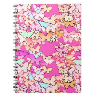 蝶、数々の、濃いピンク ノートブック