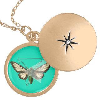 蝶/金ゴールドの終わりの円形のネックレス ゴールドプレートネックレス
