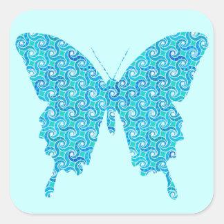 蝶、青、白いターコイズのパターン スクエアシール