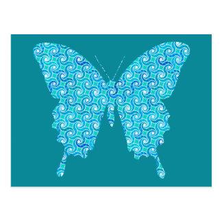 蝶、青、白いターコイズのパターン ポストカード