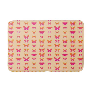 蝶、静かにオレンジ、珊瑚のピンク、金ゴールド バスマット
