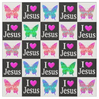 蝶I愛イエス・キリストの活気づけるでカラフルな生地 ファブリック