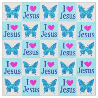 蝶I愛イエス・キリストの美しく青い生地 ファブリック