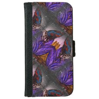 蝶IPhone黒いおよび紫色の6のウォレットケース iPhone 6/6s ウォレットケース