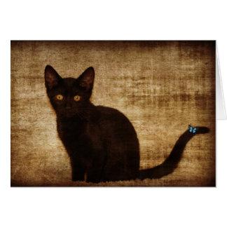 蝶Notecardを持つ黒猫 カード