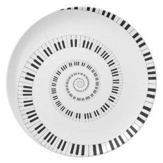 螺線形のピアノキーボードのディナー用大皿 パーティープレート