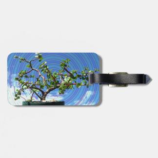 螺線形の効果の上敷が付いている盆栽の木 ラゲッジタグ