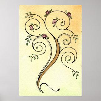 螺線形の木のプリント ポスター