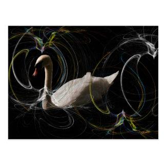 螺線形の白い白鳥の水泳は網を着色しました ポストカード