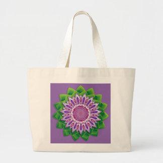 螺線形の花の曼荼羅 ラージトートバッグ