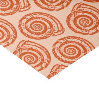 螺線形の貝殻のブロックプリント、珊瑚のオレンジ 薄葉紙